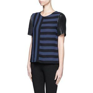 Sandro Blue Eveil Multi Stripe Zipper Blouse Top S